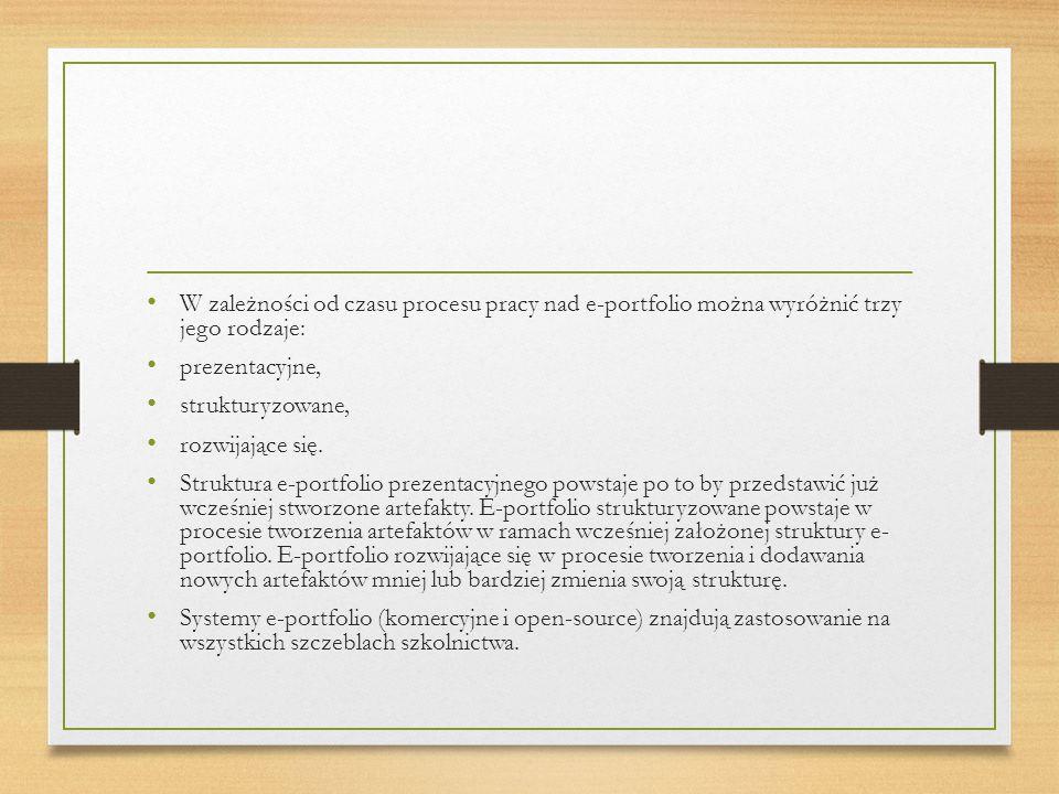 W zależności od czasu procesu pracy nad e-portfolio można wyróżnić trzy jego rodzaje: prezentacyjne, strukturyzowane, rozwijające się.