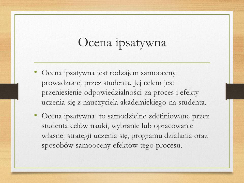 Ocena ipsatywna Ocena ipsatywna jest rodzajem samooceny prowadzonej przez studenta.
