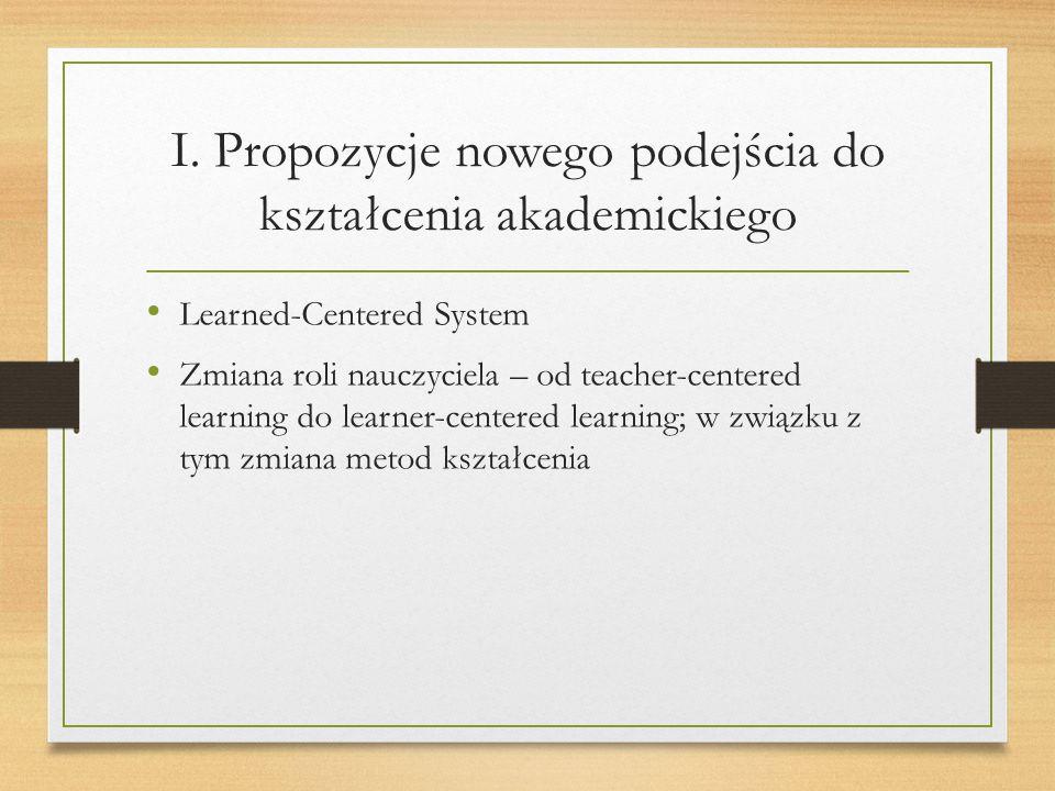 I. Propozycje nowego podejścia do kształcenia akademickiego Learned-Centered System Zmiana roli nauczyciela – od teacher-centered learning do learner-