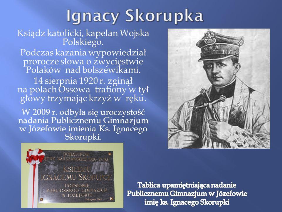 Ksiądz katolicki, kapelan Wojska Polskiego. Podczas kazania wypowiedział prorocze słowa o zwycięstwie Polaków nad bolszewikami. 14 sierpnia 1920 r. zg