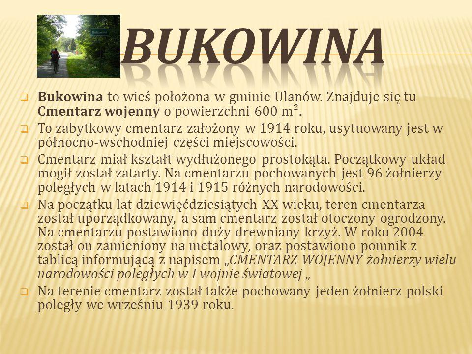  Bukowina to wieś położona w gminie Ulanów.Znajduje się tu Cmentarz wojenny o powierzchni 600 m².