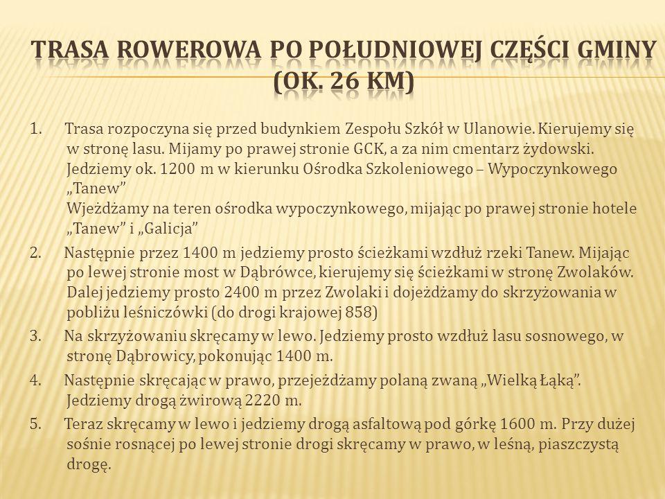 1.Trasa rozpoczyna się przed budynkiem Zespołu Szkół w Ulanowie.