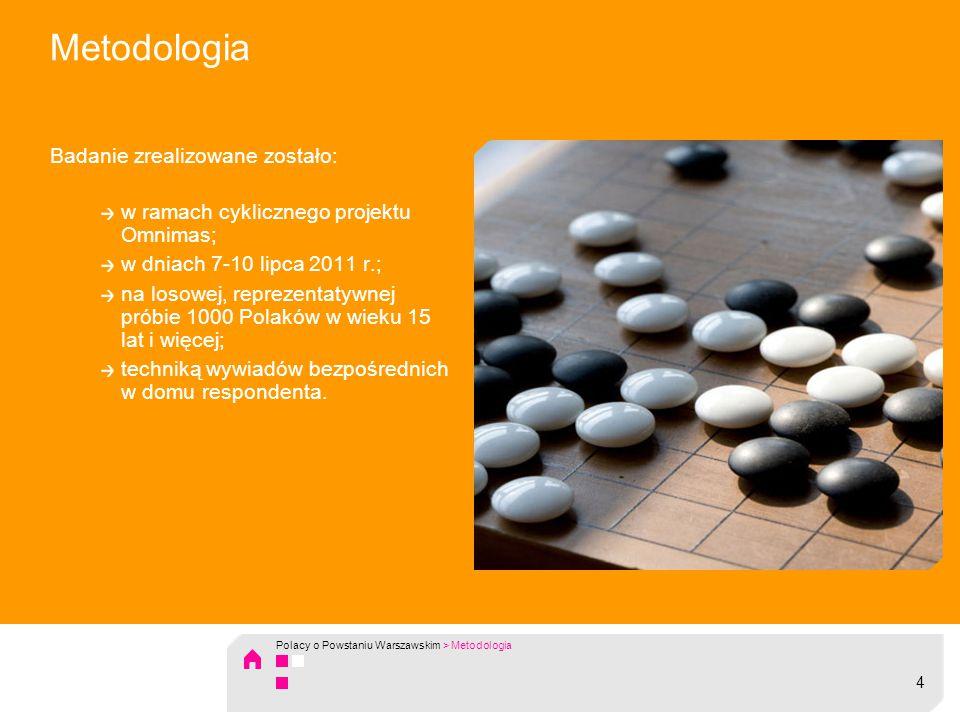 Metodologia Badanie zrealizowane zostało: w ramach cyklicznego projektu Omnimas; w dniach 7-10 lipca 2011 r.; na losowej, reprezentatywnej próbie 1000