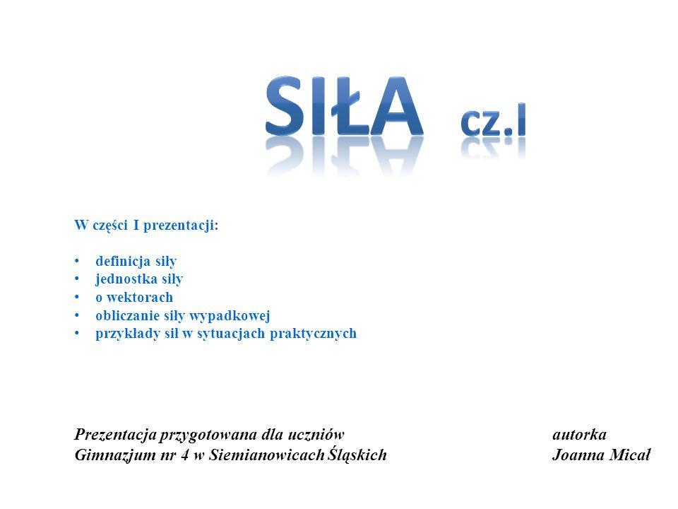 autorka Joanna Micał Prezentacja przygotowana dla uczniów Gimnazjum nr 4 w Siemianowicach Śląskich W części I prezentacji: definicja siły jednostka si