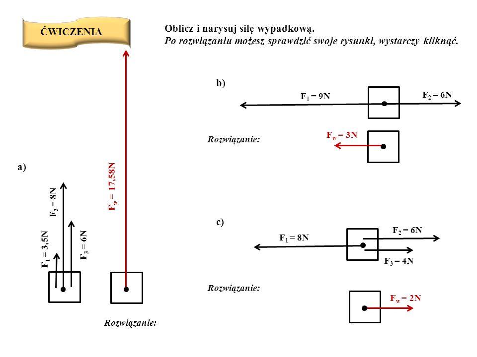 ĆWICZENIA Oblicz i narysuj siłę wypadkową. Po rozwiązaniu możesz sprawdzić swoje rysunki, wystarczy kliknąć. F 2 = 8N F 3 = 6N F 1 = 3,5N F 2 = 6N F 1