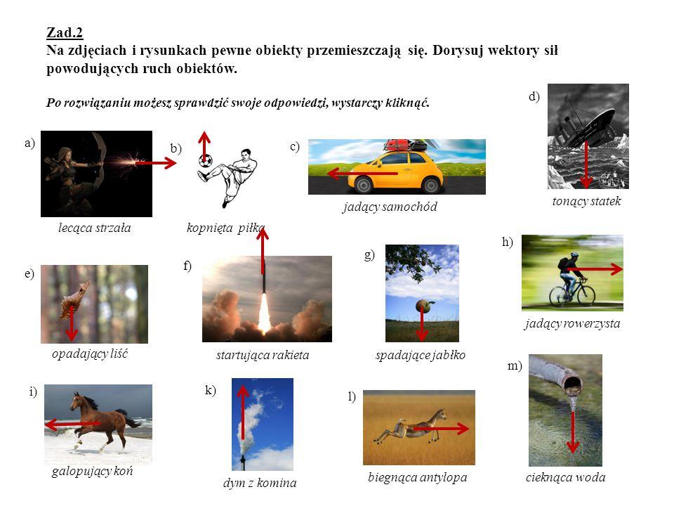 Zad.2 Na zdjęciach i rysunkach pewne obiekty przemieszczają się. Dorysuj wektory sił powodujących ruch obiektów. Po rozwiązaniu możesz sprawdzić swoje