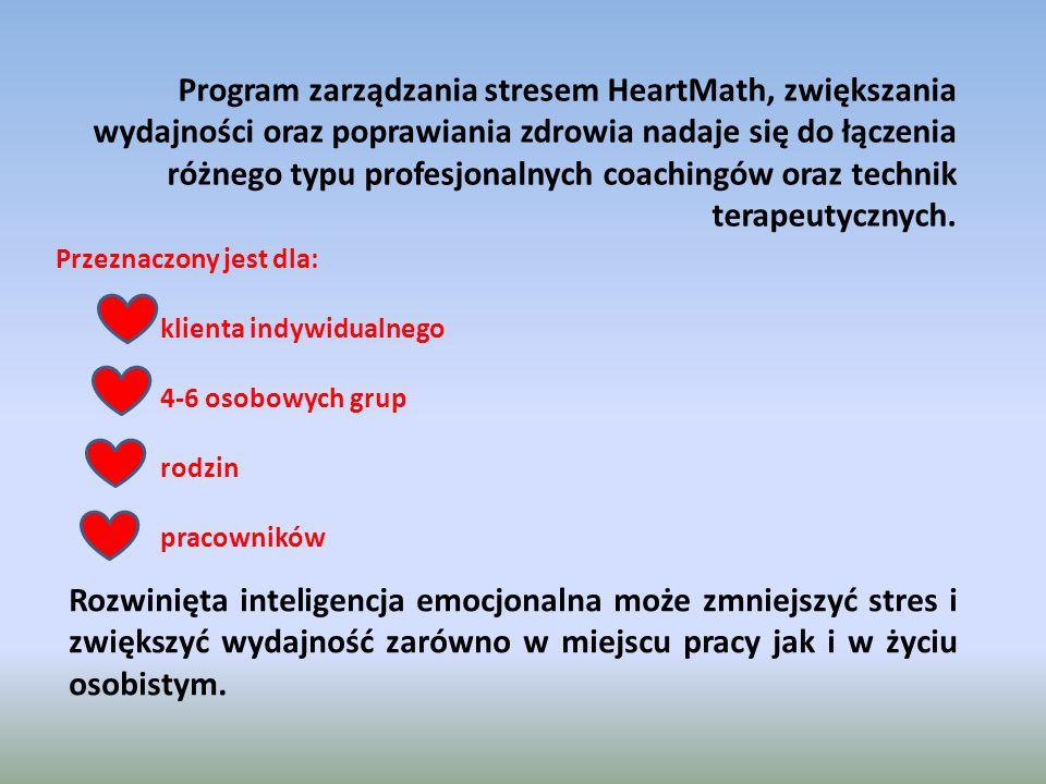 Program zarządzania stresem HeartMath, zwiększania wydajności oraz poprawiania zdrowia nadaje się do łączenia różnego typu profesjonalnych coachingów