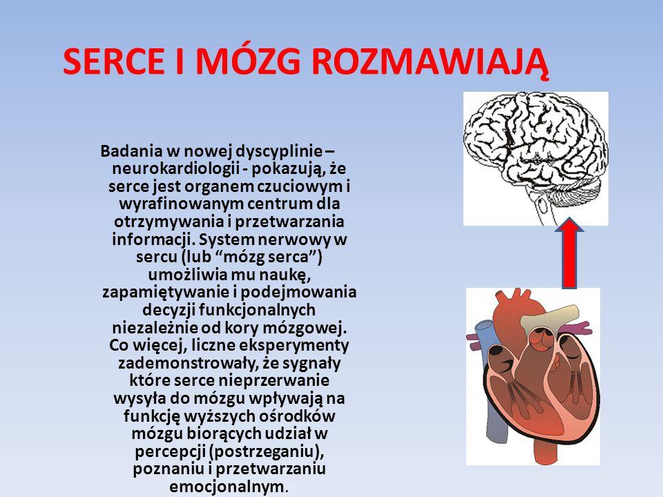 SERCE I MÓZG ROZMAWIAJĄ Badania w nowej dyscyplinie – neurokardiologii - pokazują, że serce jest organem czuciowym i wyrafinowanym centrum dla otrzymy