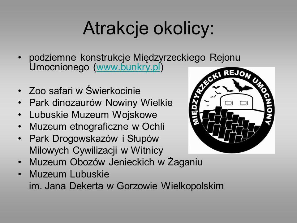 Atrakcje okolicy: podziemne konstrukcje Międzyrzeckiego Rejonu Umocnionego (www.bunkry.pl)www.bunkry.pl Zoo safari w Świerkocinie Park dinozaurów Nowi