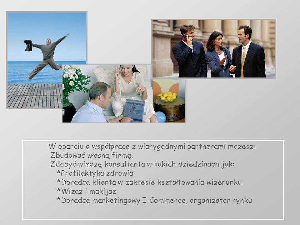 W oparciu o współpracę z wiarygodnymi partnerami możesz: Zbudować własną firmę. Zdobyć wiedzę konsultanta w takich dziedzinach jak: *Profilaktyka zdro