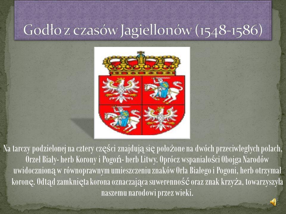 Na tarczy podzielonej na cztery cz ęś ci znajduj ą si ę poło ż one na dwóch przeciwległych polach, Orzeł Biały- herb Korony i Pogo ń - herb Litwy.