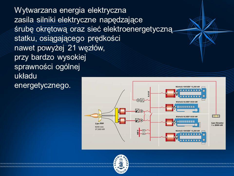 Wytwarzana energia elektryczna zasila silniki elektryczne napędzające śrubę okrętową oraz sieć elektroenergetyczną statku, osiągającego prędkości nawet powyżej 21 węzłów, przy bardzo wysokiej sprawności ogólnej układu energetycznego.