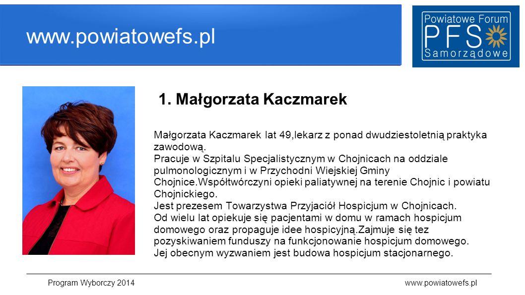 www.powiatowefs.pl 1. Małgorzata Kaczmarek Małgorzata Kaczmarek lat 49,lekarz z ponad dwudziestoletnią praktyka zawodową. Pracuje w Szpitalu Specjalis