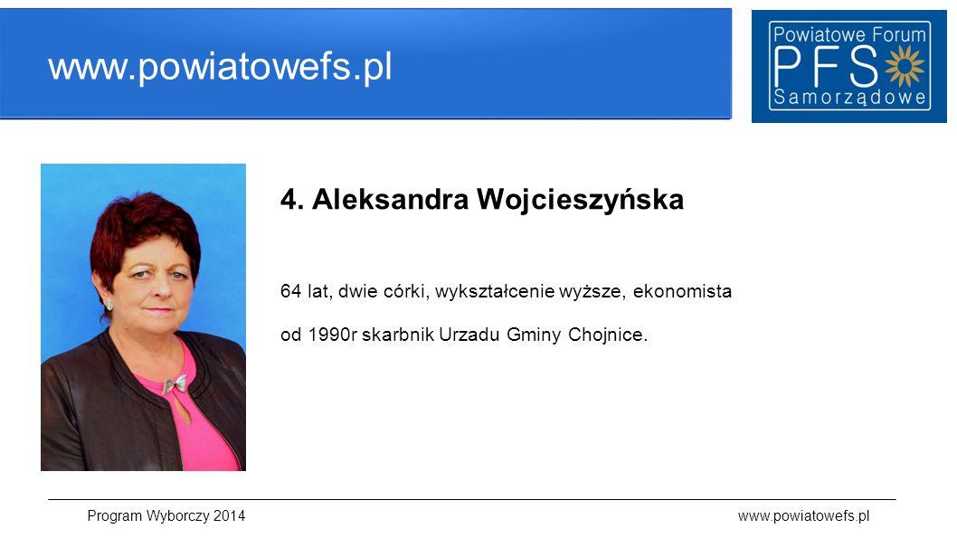 www.powiatowefs.pl 4. Aleksandra Wojcieszyńska 64 lat, dwie córki, wykształcenie wyższe, ekonomista od 1990r skarbnik Urzadu Gminy Chojnice. Program W