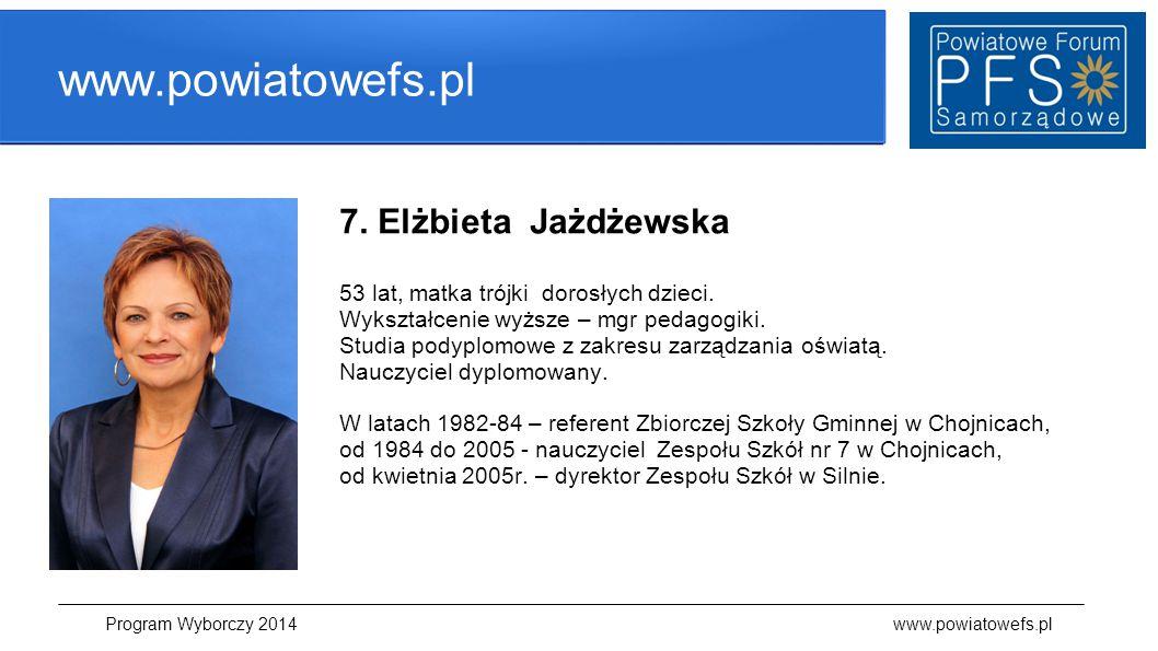 www.powiatowefs.pl 7. Elżbieta Jażdżewska 53 lat, matka trójki dorosłych dzieci. Wykształcenie wyższe – mgr pedagogiki. Studia podyplomowe z zakresu z