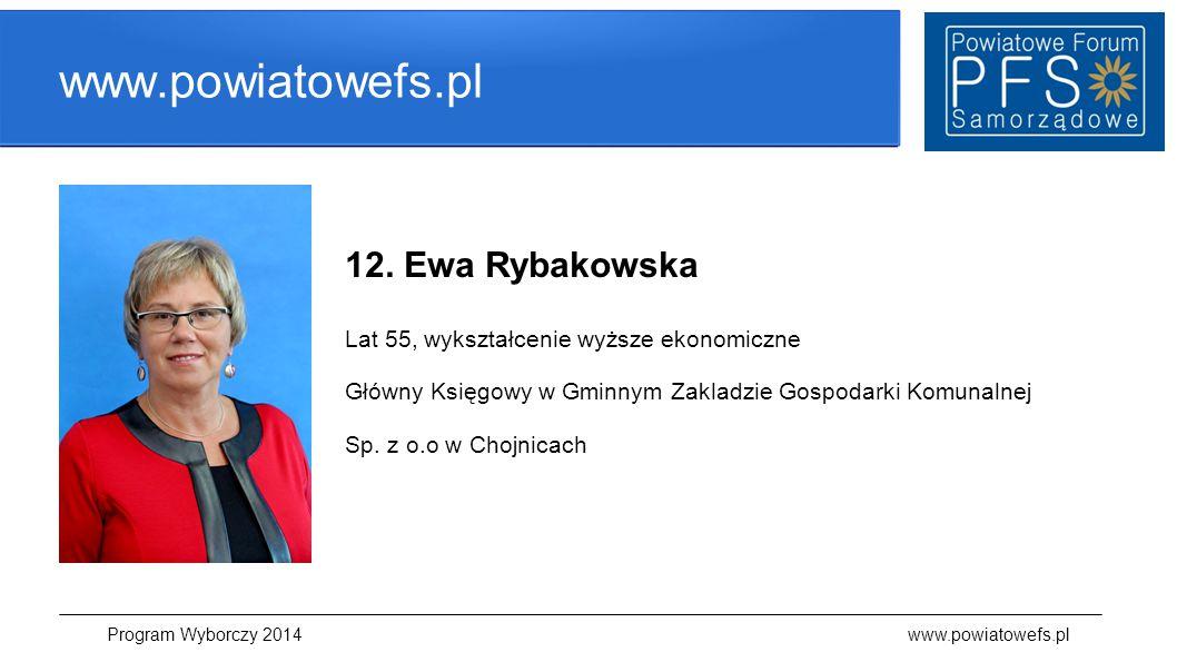 www.powiatowefs.pl 12. Ewa Rybakowska Lat 55, wykształcenie wyższe ekonomiczne Główny Księgowy w Gminnym Zakladzie Gospodarki Komunalnej Sp. z o.o w C
