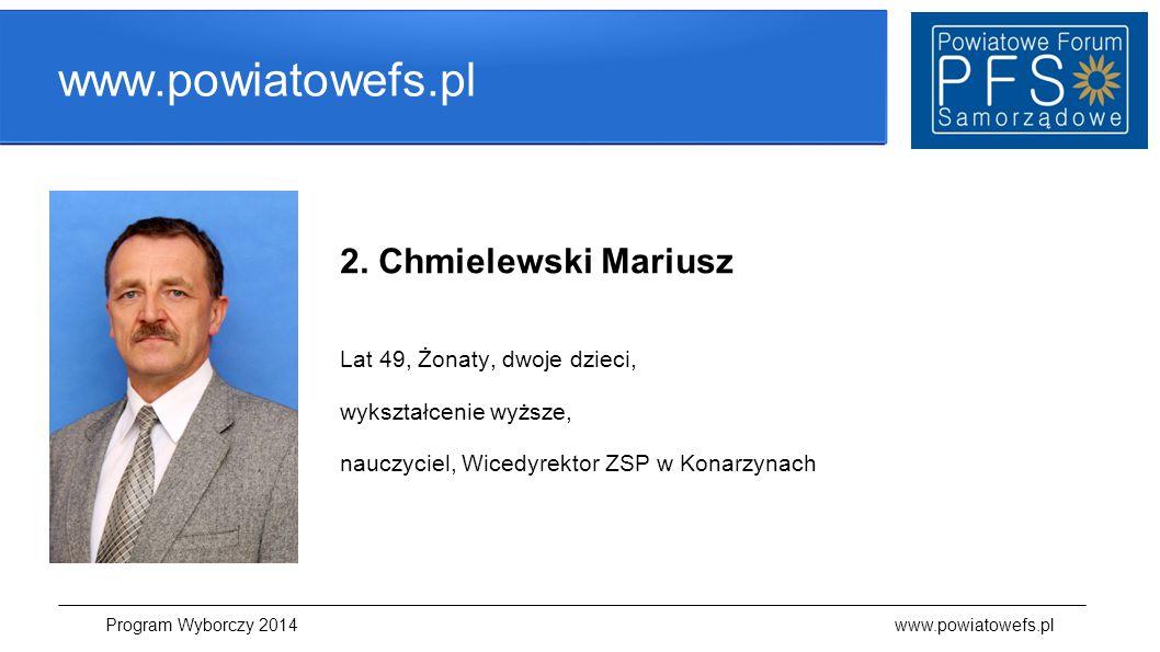 www.powiatowefs.pl 2. Chmielewski Mariusz Lat 49, Żonaty, dwoje dzieci, wykształcenie wyższe, nauczyciel, Wicedyrektor ZSP w Konarzynach Program Wybor