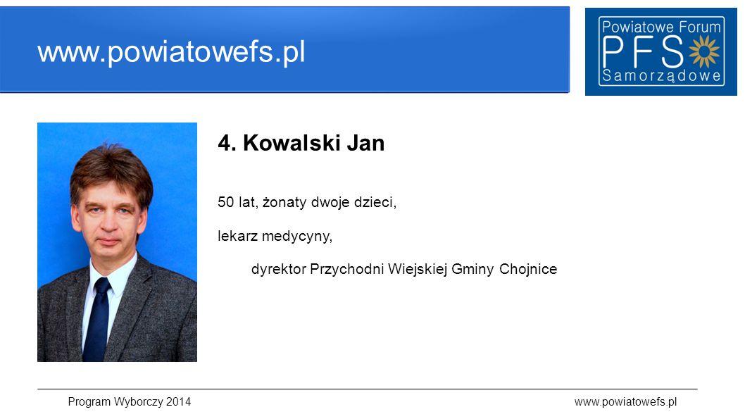 www.powiatowefs.pl Program Wyborczy 2014 www.powiatowefs.pl 4. Kowalski Jan 50 lat, żonaty dwoje dzieci, lekarz medycyny, dyrektor Przychodni Wiejskie