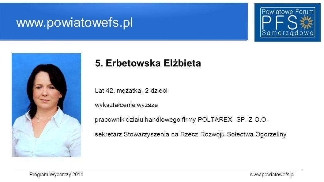 www.powiatowefs.pl 5. Erbetowska Elżbieta Lat 42, mężatka, 2 dzieci wykształcenie wyższe pracownik działu handlowego firmy POLTAREX SP. Z O.O. sekreta