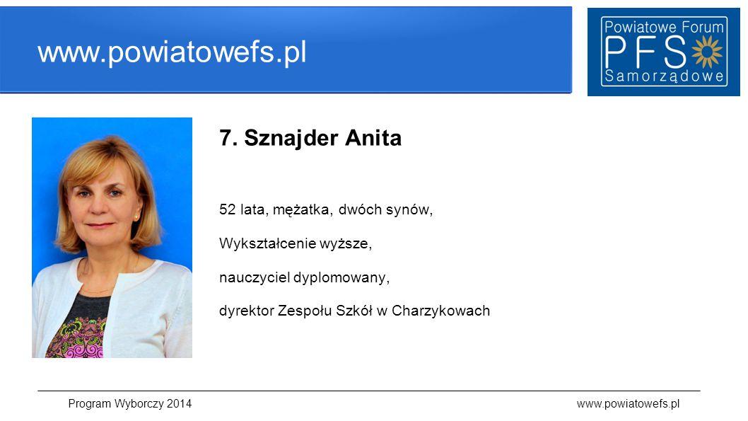 www.powiatowefs.pl 7. Sznajder Anita 52 lata, mężatka, dwóch synów, Wykształcenie wyższe, nauczyciel dyplomowany, dyrektor Zespołu Szkół w Charzykowac