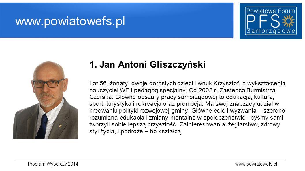 www.powiatowefs.pl 1. Jan Antoni Gliszczyński Lat 56, żonaty, dwoje dorosłych dzieci i wnuk Krzysztof. z wykształcenia nauczyciel WF i pedagog specjal