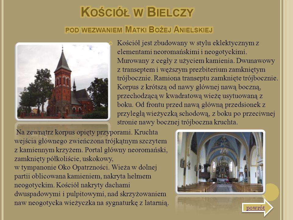 Kościół jest zbudowany w stylu eklektycznym z elementami neoromańskimi i neogotyckimi. Murowany z cegły z użyciem kamienia. Dwunawowy z transeptem i w