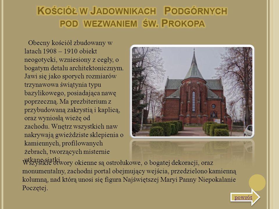 Obecny kościół zbudowany w latach 1908 – 1910 obiekt neogotycki, wzniesiony z cegły, o bogatym detalu architektonicznym. Jawi się jako sporych rozmiar