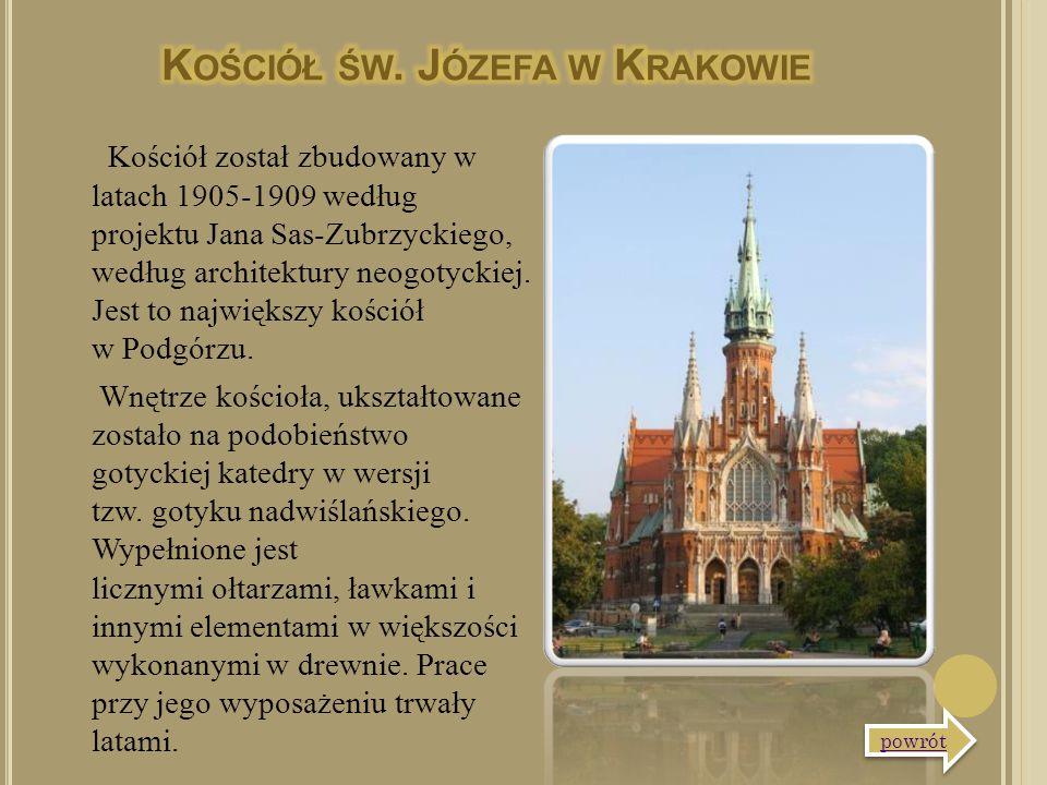 Kościół został zbudowany w latach 1905-1909 według projektu Jana Sas-Zubrzyckiego, według architektury neogotyckiej. Jest to największy kościół w Podg