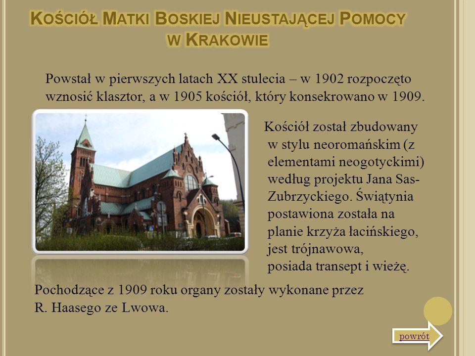 Kościół został zbudowany w stylu neoromańskim (z elementami neogotyckimi) według projektu Jana Sas- Zubrzyckiego. Świątynia postawiona została na plan
