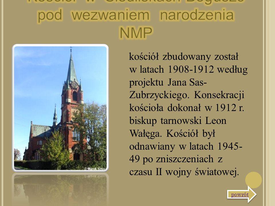 kościół zbudowany został w latach 1908-1912 według projektu Jana Sas- Zubrzyckiego. Konsekracji kościoła dokonał w 1912 r. biskup tarnowski Leon Wałęg
