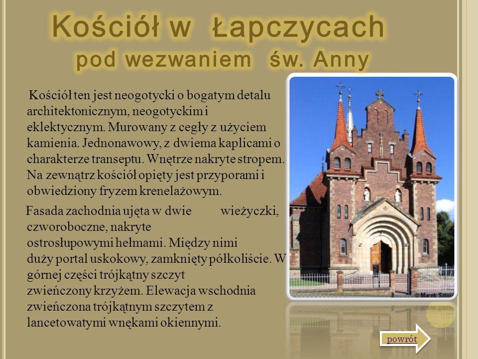 Kościół ten jest neogotycki o bogatym detalu architektonicznym, neogotyckim i eklektycznym. Murowany z cegły z użyciem kamienia. Jednonawowy, z dwiema