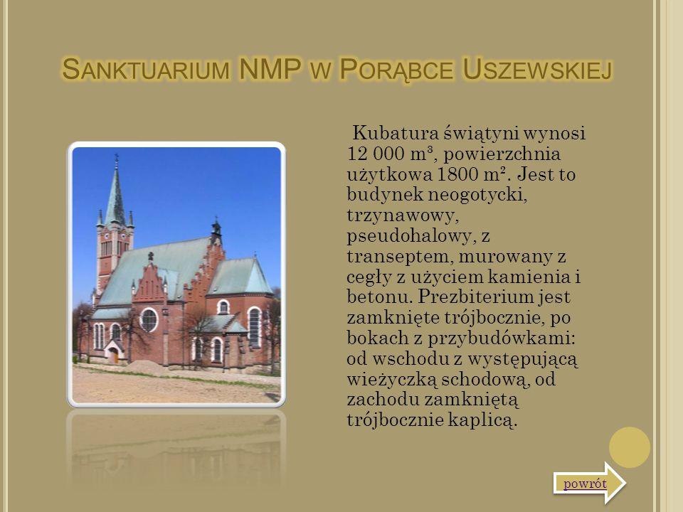 Kubatura świątyni wynosi 12 000 m³, powierzchnia użytkowa 1800 m². Jest to budynek neogotycki, trzynawowy, pseudohalowy, z transeptem, murowany z cegł