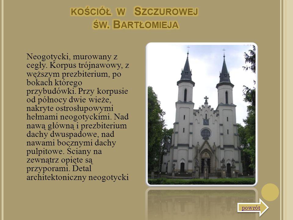 Neogotycki, murowany z cegły. Korpus trójnawowy, z węższym prezbiterium, po bokach którego przybudówki. Przy korpusie od północy dwie wieże, nakryte o
