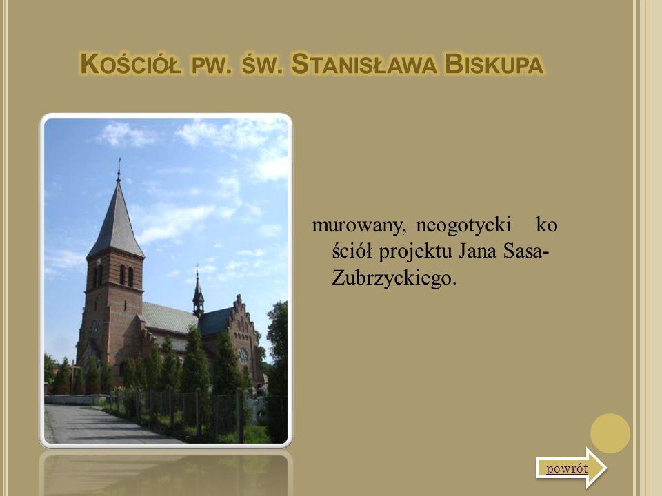 murowany, neogotycki ko ściół projektu Jana Sasa- Zubrzyckiego. powrót