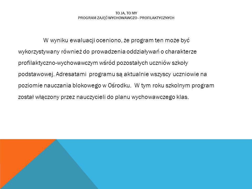 TO JA, TO MY PROGRAM ZAJĘĆ WYCHOWAWCZO - PROFILAKTYCZNYCH W wyniku ewaluacji oceniono, że program ten może być wykorzystywany również do prowadzenia o