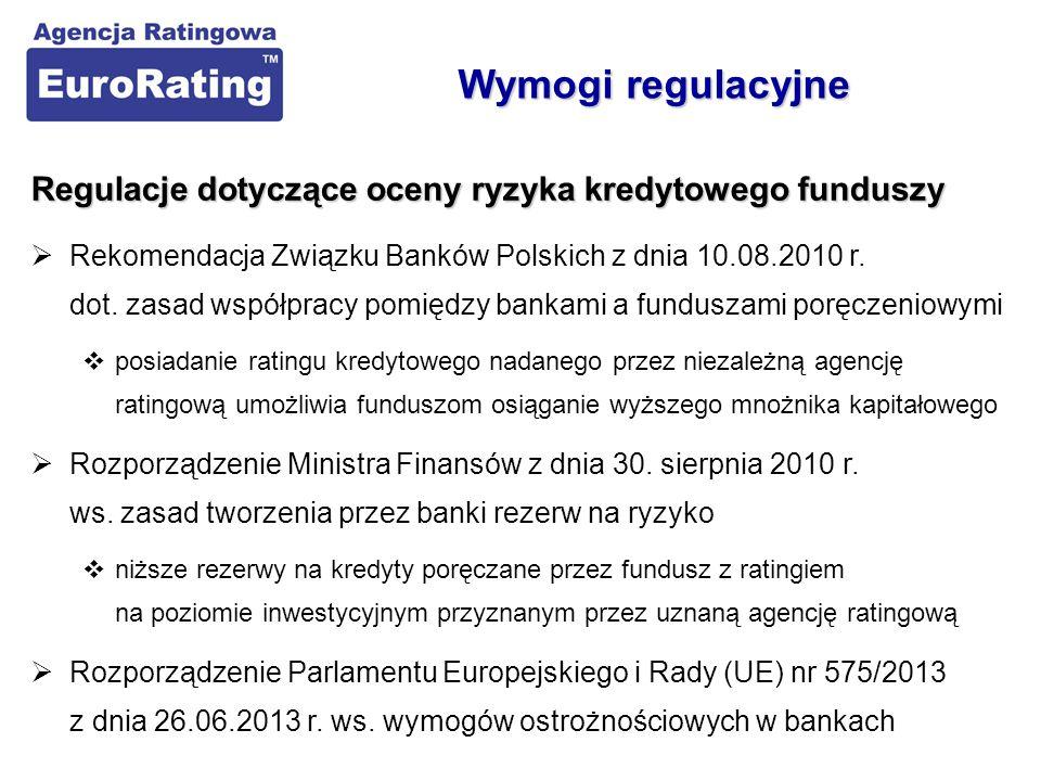 Korzyści dla banków ze współpracy z funduszami z ratingiem  Bezpośrednia korzyść finansowa  niższe rezerwy kapitałowe na kredyty poręczane przez fundusze posiadające rating na poziomie inwestycyjnym  Pomoc dla banków w ocenie i monitoringu wiarygodności funduszy  możliwość redukcji kosztów własnych (rezygnacja lub rzadsza ocena własna)  Rating jako istotny element standaryzacji działalności funduszy  sprowadzenie oceny różnych funduszy do wspólnego mianownika  Rating jako podstawa do ustalania limitów ekspozycji na fundusze  rating jako regulator ryzyka poszczególnych funduszy Rating funduszy vs.