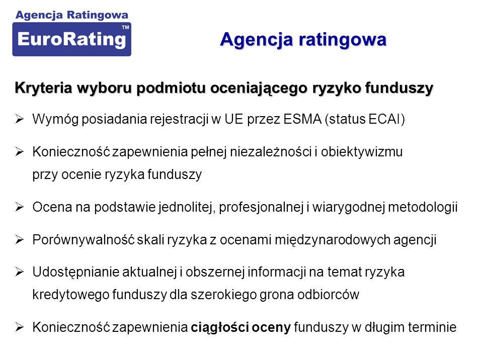 Kryteria wyboru podmiotu oceniającego ryzyko funduszy  Wymóg posiadania rejestracji w UE przez ESMA (status ECAI)  Konieczność zapewnienia pełnej ni