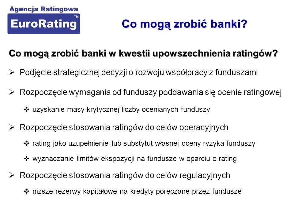 Co mogą zrobić banki w kwestii upowszechnienia ratingów?  Podjęcie strategicznej decyzji o rozwoju współpracy z funduszami  Rozpoczęcie wymagania od