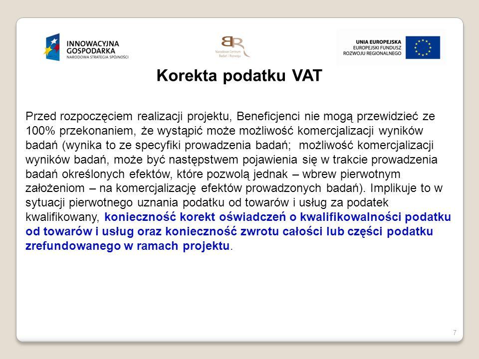 20 listopada 20148 8 Korekta podatku VAT Korekta deklaracji VAT 7 Korekta przy zmianie przeznaczenia towarów i usług NCBR przy podejmowaniu przez beneficjentów działań komercjalizacyjnych zaleca zmianę podatkowego przeznaczenia towarów i usług
