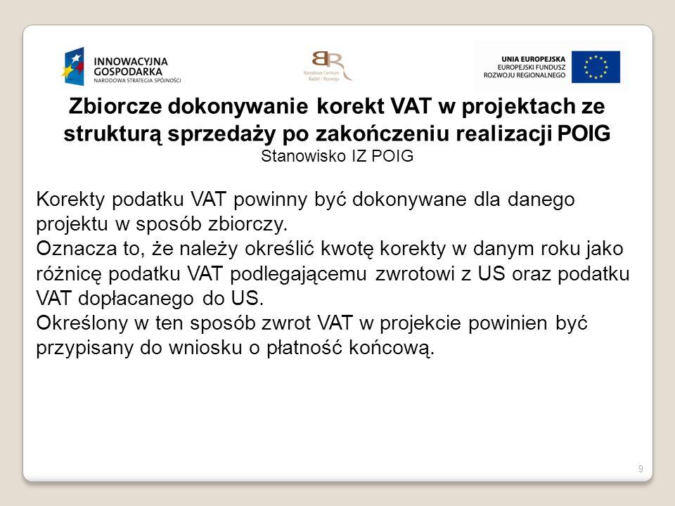 9 Zbiorcze dokonywanie korekt VAT w projektach ze strukturą sprzedaży po zakończeniu realizacji POIG Stanowisko IZ POIG Korekty podatku VAT powinny by