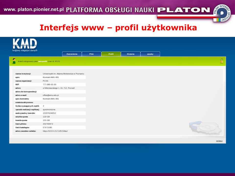 Interfejs www – profil użytkownika