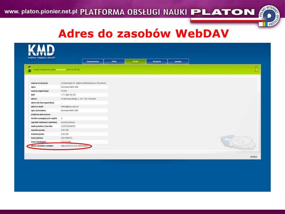 Adres do zasobów WebDAV
