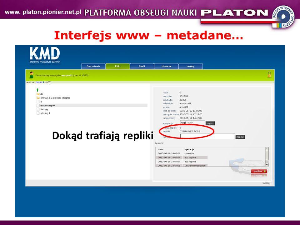 Interfejs www – metadane… Dokąd trafiają repliki
