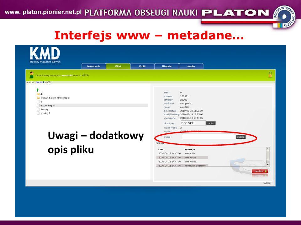 Interfejs www – metadane… Uwagi – dodatkowy opis pliku