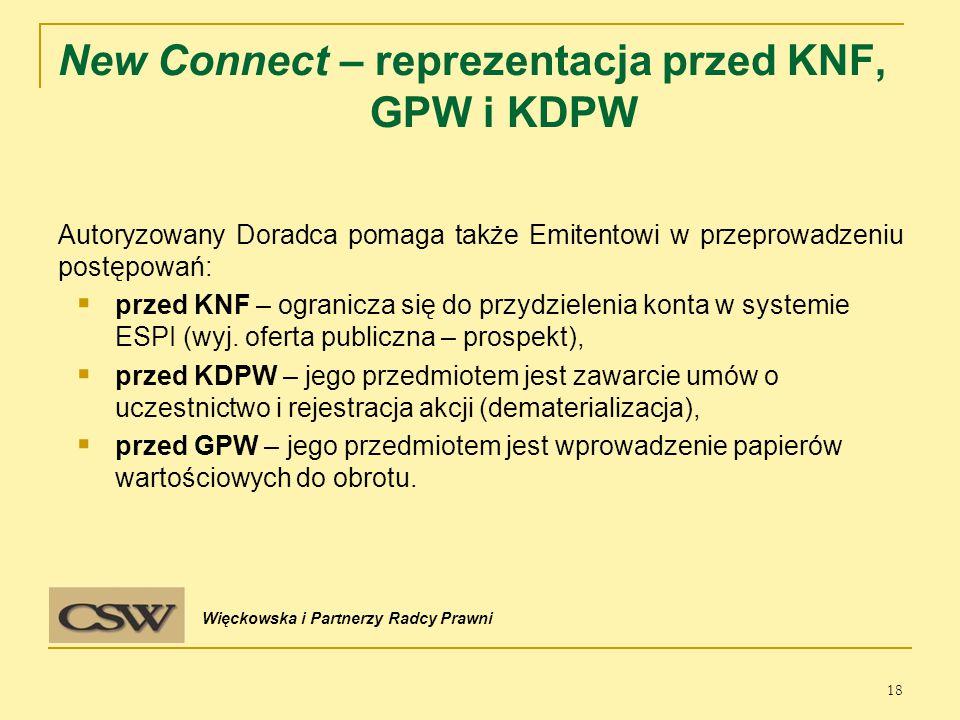 New Connect – reprezentacja przed KNF, GPW i KDPW Autoryzowany Doradca pomaga także Emitentowi w przeprowadzeniu postępowań:  przed KNF – ogranicza się do przydzielenia konta w systemie ESPI (wyj.