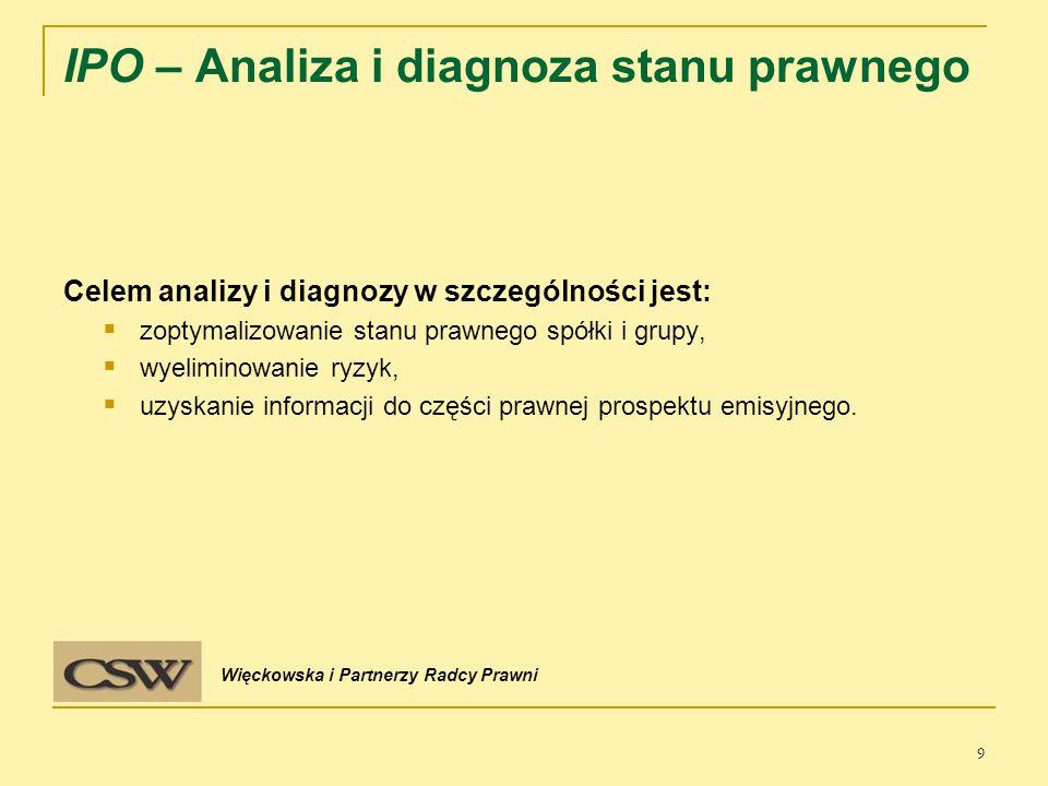 Dokumentacja oferty:  uchwała walnego zgromadzenia  prospekt emisyjny  wniosek do KNF  rozpoczęcie działań IR/ PR 10 IPO – Przebieg procesu Więckowska i Partnerzy Radcy Prawni