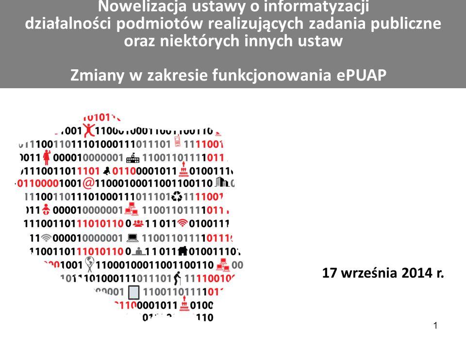 Nowelizacja ustawy o informatyzacji działalności podmiotów realizujących zadania publiczne oraz niektórych innych ustaw Zmiany w zakresie funkcjonowan