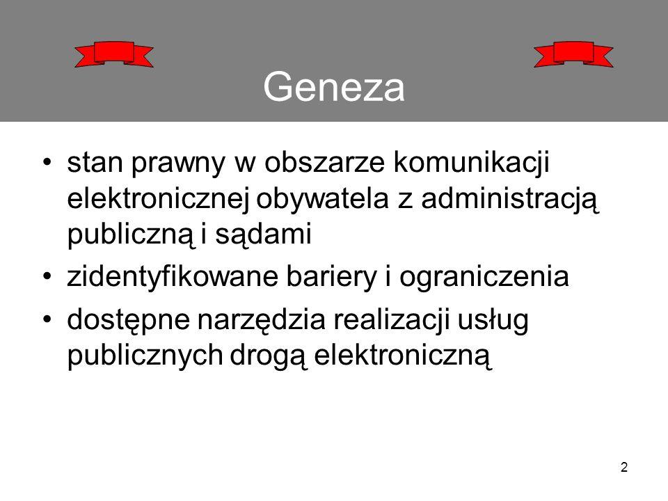 Geneza stan prawny w obszarze komunikacji elektronicznej obywatela z administracją publiczną i sądami zidentyfikowane bariery i ograniczenia dostępne