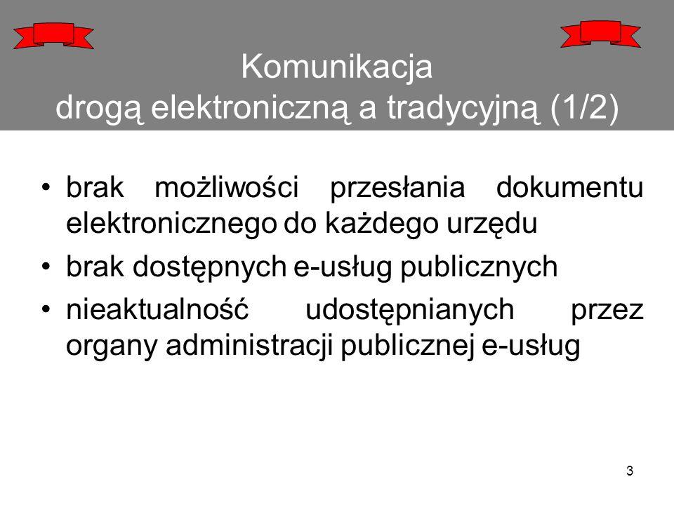 Komunikacja drogą elektroniczną a tradycyjną (1/2) brak możliwości przesłania dokumentu elektronicznego do każdego urzędu brak dostępnych e-usług publ