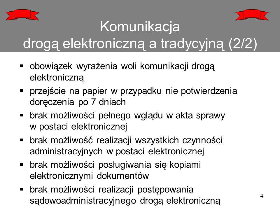 Komunikacja drogą elektroniczną a tradycyjną (2/2)  obowiązek wyrażenia woli komunikacji drogą elektroniczną  przejście na papier w przypadku nie po